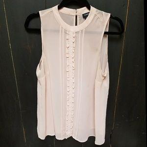 Pink Torrid ruffle front sleevless blouse sz 0